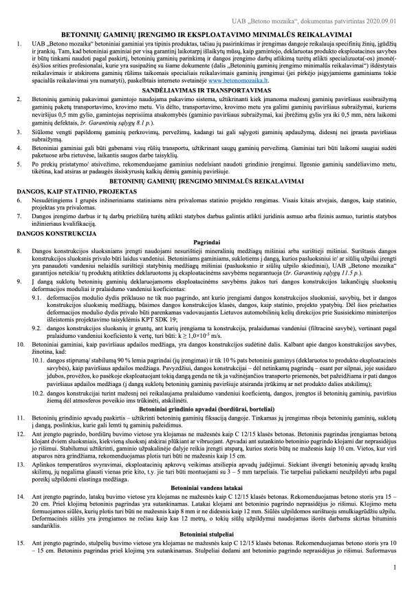 Betoninių gaminių įrengimo ir eksplotavimo reikalavimai